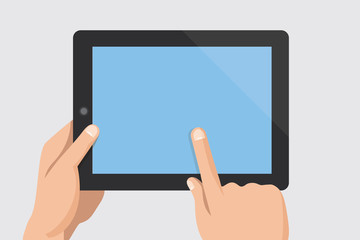Finger touching blank screen of tablet computer
