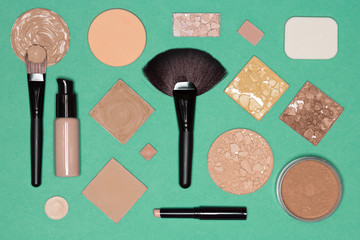 Flat lay still life of foundation makeup products