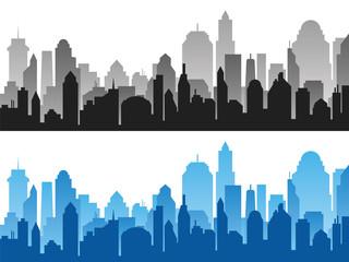 Set of black and blue horizontal cityscape backgrounds