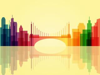 Stylish transparent cityscape background with bridge and reflection