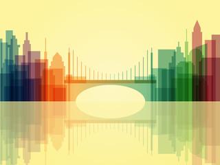 Stylish transparent cityscape background with bridge