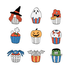 Vector illustration of cute Halloween cupcakes set.Isolated on white.