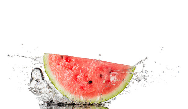 watermelon and water splash isolated on white