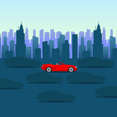 Cool cartoon-style red car on dark city background. Urban vector illustration