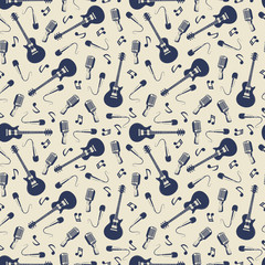 Vintage musical seamless pattern with guitars, microphones