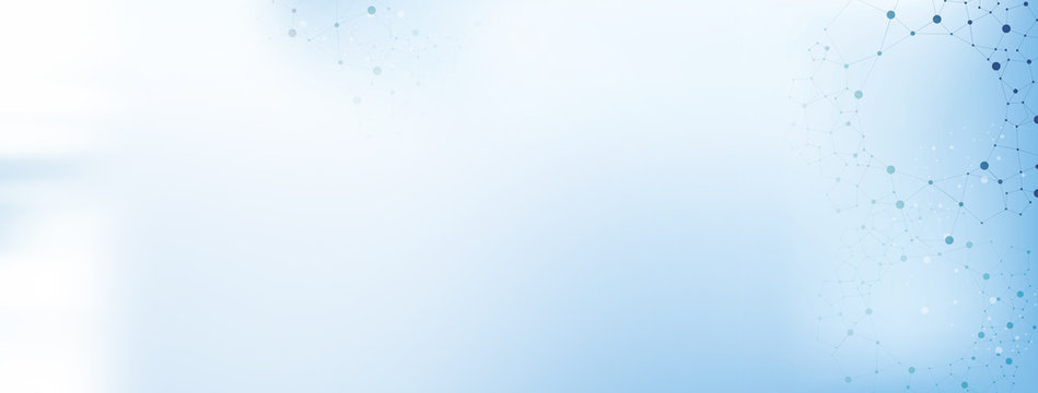 White and light blue medical abstract gradient background with molecules - web banner