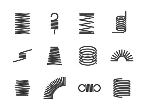 Metal spiral flexible wire elastic spring icons i