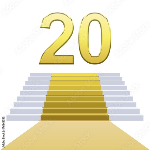 Escaliers Tapis Or Anniversaire 20 Ans Stock Photo And Royalty