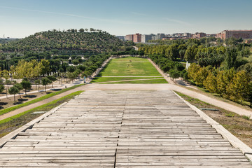 Gardens and meadows of the linear park of the Manzanares in Madrid