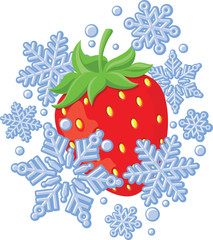 Red ripe strawberry frozen amongst snowflakes.