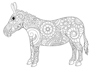 Donkey coloring raster for adults