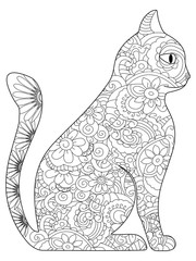 Cat Coloring book raster for adults