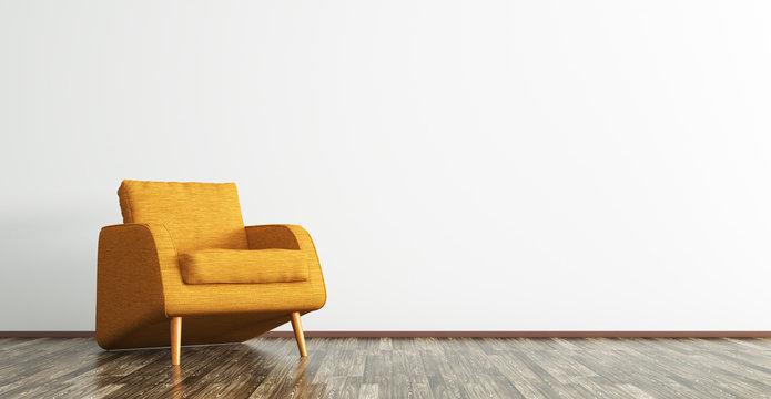 Interior with orange armchair 3d rendering