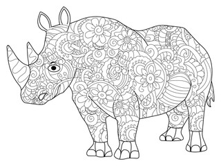 hippopotamus Coloring book raster for adults
