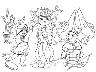 Indians tribe in the form of three children coloring raster for adults