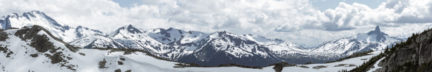 Wide Mountain Range Panorama with Black Tusk from Whistler Canada