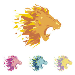 Head of lion is a logo template for the corporate identity of the company's business, sports club, brand of clothing or equipment. The tiger growls, opened its toothy mouth. Male serious logo.