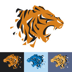 Head of tiger is a logo template for the corporate identity of the company's business, sports club, brand of clothing or equipment. The tiger growls, opened its toothy mouth. Male serious logo.