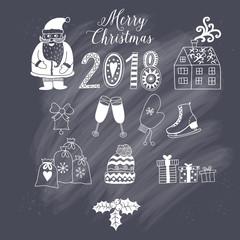 Christmas doodles elements: Santa, houses, cake, lettering sign 2018. Design set for winter holidays decoration. Vector doodle elements