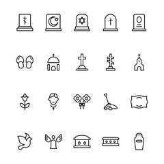 Funeral icon set