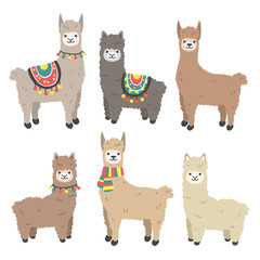 Cute llama and alpaca set. Cartoon character vector illustration.Funny smiling animals.