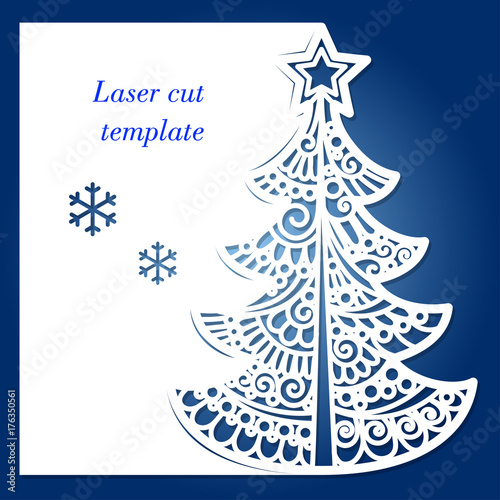 Laser cutting template with christmas tree and snowflakesr laser cutting template with christmas tree and snowflakesr invitations greeting cards menu m4hsunfo