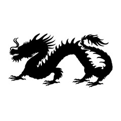 Chinese dragon silhouette symbol traditional China