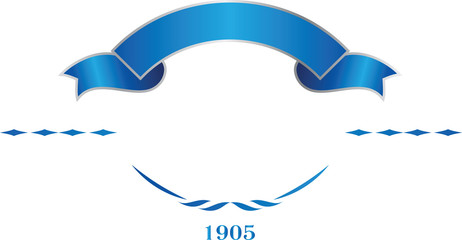 Blue and silver elegant ribbon banner. Vector logo template.