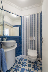 Interior of a small blue toilet