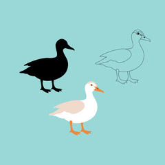 duck vector illustration style flat black silhouette line drawing