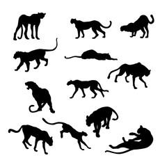 cheetah vector illustration black silhouette big set