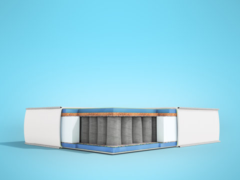 Modern white orthopedic mattress in section with blue filler 3d render on blue background
