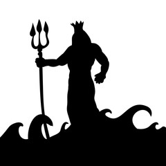 Poseidon god silhouette ancient mythology fantasy