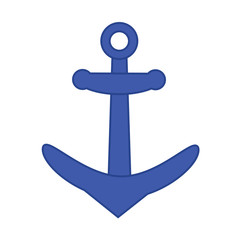 Anchor flat icon on white isolated background in deep blue color