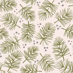 Fir tree branch seamless pattern, winter background