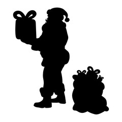 Santa claus silhouette christmas holiday