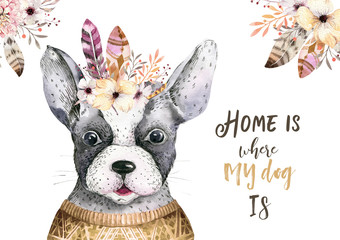 Watercolor closeup portrait of cute dog. Isolated on white background. . Hand drawn sweet home pet. Greeting card animal nursary design decoration