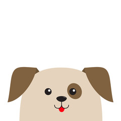 Dog puppy head looking up. Cute cartoon character. Pet baby collection. Mouth with tongue. Eyes spot. Isolated. White background. Flat design.