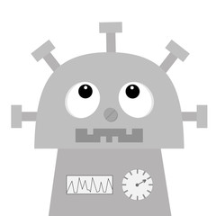 Robot looking up. Screw nose, clock heart, diagram, open mouth with tooth. Cute vintage cartoon character. Gray metal. Baby collection. Flat design. White background. Isolated.