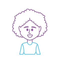 line avatar woman with hairstyle and blouse design