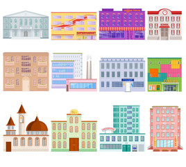 Different city public buildings houses facade flat style architecture modern street apartment vector illustration.