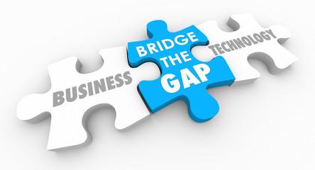 Business Technology Bridge Gap Between Puzzle Pieces 3d Illustration
