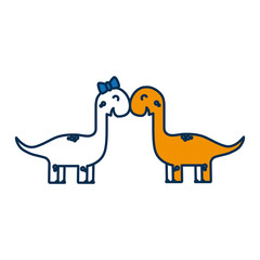 couple of dinosaurs icon over white background vector illustration