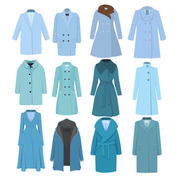 Set of autumn winter models female coat. Vector illustration