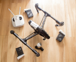 Professional camera drone with remote control, battery and camera.