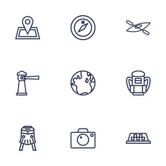 Set Of 9 Journey Outline Icons Set.Collection Of Case, Lighthouse, Pin And Other Elements.