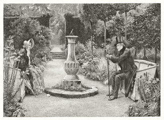 Old illustration depicting elderly man and woman sitting ion opposite benches in a park. By Sadler and Boucher,  publ, in London, ca. 1892