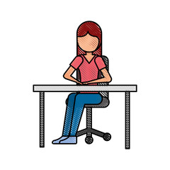 cartoon girl sitting on chair with office desk