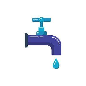 Water tap icon in flat style