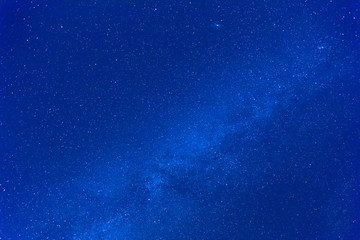 Milky way stars photographed with wide-angle lens.